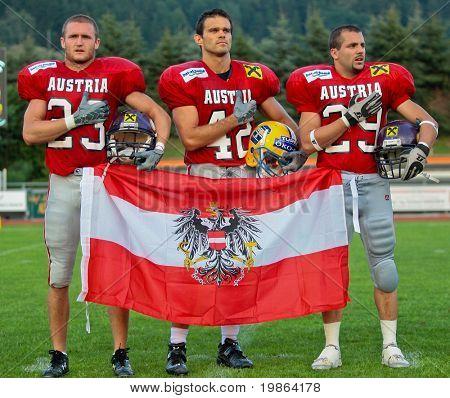 WOLFSBERG, AUSTRIA - AUGUST 18: American Football B-EC: DB Christoph Schreiner (#42, Austria) and his team beat Italy 34:3 on August 18, 2009 in Wolfsberg, Austria.