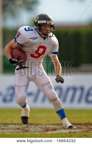 WOLFSBERG, AUSTRIA - AUGUST 22 American Football B-EC: RB Stanislay (#9 , Czech) and his team beat Italy 27:17 on August 22, 2009 in Wolfsberg, Austria.