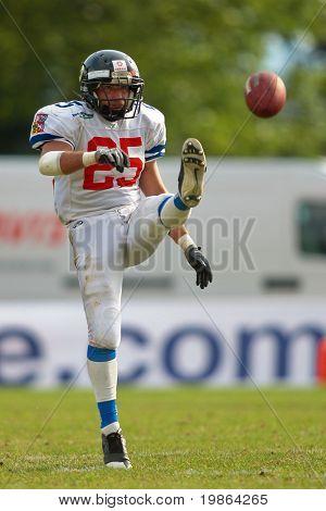 WOLFSBERG, AUSTRIA - AUGUST 22 American Football B-EC: Kicker Michal Srb (#25, Czech) and his team beat Italy 27:17 on August 22, 2009 in Wolfsberg, Austria.