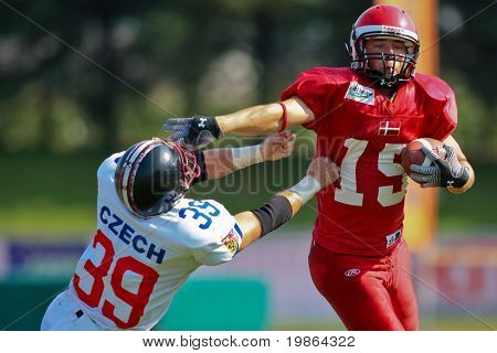 WOLFSBERG, AUSTRIA - AUGUST 20: American Football B-EC: WR Martin Vester (#15, Denmark) and his team beat the Czech Republic 34:0 on August 20, 2009 in Wolfsberg, Austria.