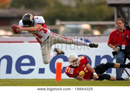 WOLFSBERG, AUSTRIA - AUGUST 20: American Football B-EC: WR Florian Starzengruber (#17, Austria) and his team beat Spain 70:0 on August 20, 2009 in Wolfsberg, Austria.