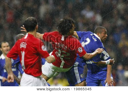 Ryan Giggs Ashley Cole and Carlos Tevez at the Champions League Final held at Luzhniki Stadium Moscow 21 May 2008 and contested by Manchester United v Chelsea FC
