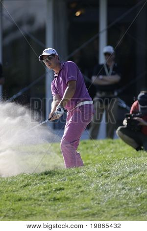 Sweden's Henrik Stenson chips in from a bunker at the PGA European Tour BMW Open Golf Munich Germany 19 - 22 June 2008 at the Golf Club Munchen Eichenried
