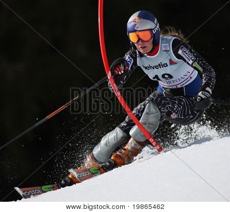 Bormio Italy March Lindsey Vonn from The USA skiing at the Audi FIS World cup event held in Crans Montana Switzerland