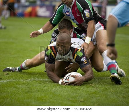 TWICKENHAM UK AUGUST 03, Semi Tadulala touches down to score a try  Playing in the Engage Super League Rugby league match Between Harlequins RL and Bradford Bulls at The Stoop, Twickenham London