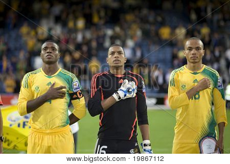 LONDON, UK AUGUST 19, Khune, Nkosi and Mokoena playing in the international football friendly match between Australia and South Africa held at Loftus Road London 19/08/2008
