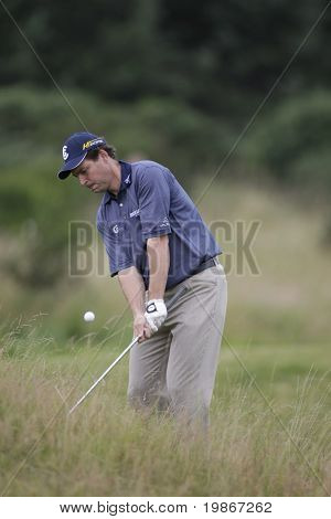 GLENEAGLES SCOTLAND AUGUST 30, David Howell playing out of the rough on the 2nd hole whilst competing in the Johnnie Walker Classic PGA European Tour golf tournament at Gleneagles Perthshire