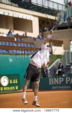 MONTE CARLO MONACO APRIL 21, Juan Carlos Ferrero ESP v Michael Llodra FRA competing in the ATP Masters tournament in Monte Carlo, Monaco, 19-27 April 2008