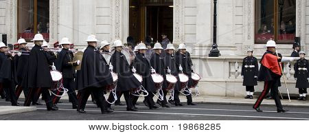 WHITEHALL, LONDON - NOV 8: The band of The Royal Marines march to position during the Royal British Legion Remembrance Parade at the Cenotaph November 8, 2009 in Whitehall, London.