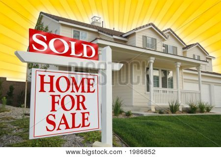 Sold Home For Sale Sign & New House On Star-Burst Yellow Background
