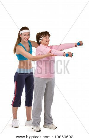 senior woman exercising in gym