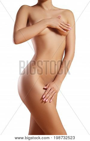 poster of Beatiful body shapes. Slim waist flat belly soft clean skin. Perfect female body on white background. Sexy curves sport form. Healthcare
