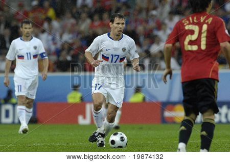 INNSBRUCK - JUNE 10: Konstantin Zyryanov of Russia Football National Team during the match Spain-Russia 4:1 Euro2008 Group D. June 10, 2008, in Innsbruck, Austria