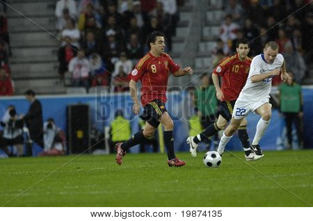 INNSBRUCK - JUNE 10: Xavi Hernandes of Spain Football National Team during the match Spain-Russia 4:1 Euro2008 Group D. June 10, 2008, in Innsbruck, Austria