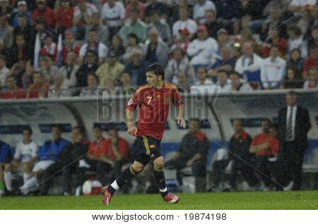 INNSBRUCK - JUNE 10: David Villa of Spain Football National Team during the match Spain-Russia 4:1 Euro2008 Group D scored 3goals. June 10, 2008, in Innsbruck, Austria