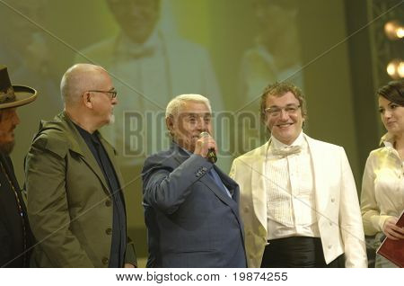 YEREVAN - NOVEMBER 11:  Peter Gabriel, Jivan Gasparyan & Dmitry Dibrov (from left to right) during Jivan Gasparyan's 80years celebration evening. November 11, 2008, in Yerevan, Armenia