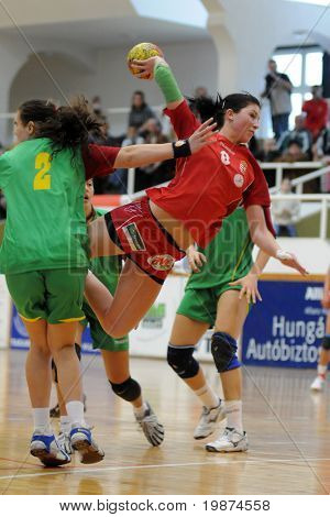 NAGYATAD, HUNGARY - MARCH 8: Barbara Kopecz ready to score at Women's 17 European Handball Championship qualification match (Hungary vs. Portugal) March 8, 2009 in Nagyatad, Hungary.