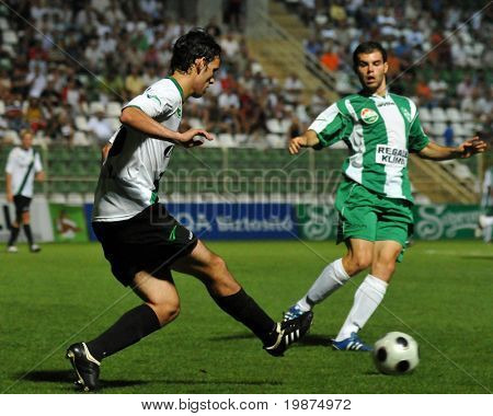 KAPOSVAR, HUNGARY - AUGUST 2: Szabolcs Schimmer (L) and Nemanja Nikolic in action at Hungarian National Championship soccer game Kaposvar vs Szombathely August 2, 2009 in Kaposvar, Hungary.