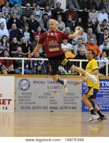 NAGYATAD, HUNGARY - FEBRUARY 5: Tamas Ivancsik (with the ball) in action at Hungarian Cup Handball match (Nagyatad vs. Veszprem) February 5, 2009 in Nagyatad, Hungary.