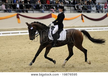 KAPOSVAR, HUNGARY - OCTOBER 11: Katalin Horvath and her horse (Makro) in action at the Dressage World Cup Competition October 11, 2009 in Kaposvar, Hungary.