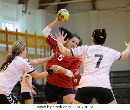 KAPOSVAR, HUNGARY - NOVEMBER 29: Szabina Reichert (5) in action at Hungarian Handball National Championship II. match (Kaposvar vs. Siofok) November29, 2009 in Kaposvar, Hungary.