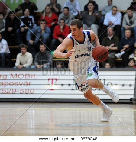 KAPOSVAR, HUNGARY - DECEMBER 17: David Vojvoda in action at Hungarian National Championship basketball game with Kaposvar vs. Szolnok on December 17, 2009 in Kaposvar, Hungary.