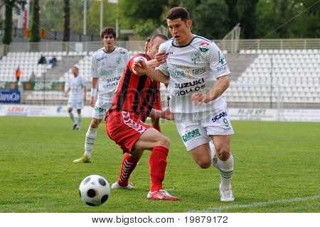 KAPOSVAR, HUNGARY - MAY 5: Andre Alves (9) in action at a Hungarian National Championship soccer game Kaposvar vs Budapest Honved May 5, 2008 in Kaposvar, Hungary.
