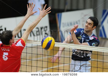 KAPOSVAR, HUNGARY - JANUARY 31: Colic (L) and Nagy (R) in action at a Middle European League volleyball game Kaposvar (HUN) vs. Mladost Zagreb (CRO), January 31, 2010 in Kaposvar, Hungary.