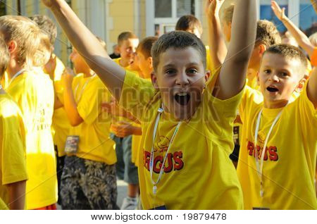 KAPOSVAR, HUNGARY - JULY 20: Unidentified participants at the V. Youth Football Festival Opening Ceremony July 20, 2009 in Kaposvar, Hungary.