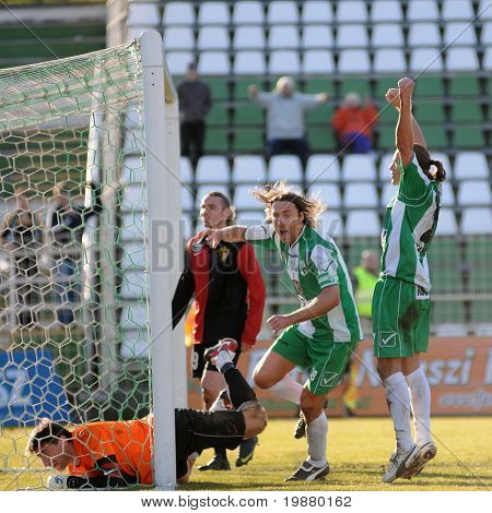 KAPOSVAR, HUNGARY - FEBRUARY 27: Zahorecz (C) and Maroti (R) celebrate a goal at a Hungarian National Championship soccer game Kaposvar vs Budapest Honved February 27, 2010 in Kaposvar, Hungary.