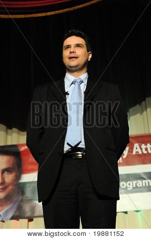 KAPOSVAR, HUNGARY - MARCH 24: Attila Mesterhazy, Hungarian Socialist Party's prime ministerial candidate speaks at the Kaposvar campaign program March 24, 2010 in Kaposvar, Hungary.