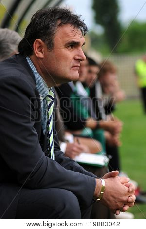 KAPOSVAR, HUNGARY - MAY 8: Attia Pinter (Gyor's trainer) at a Hungarian National Championship soccer game Kaposvar vs. Gyor - May 8, 2010 in Kaposvar, Hungary.