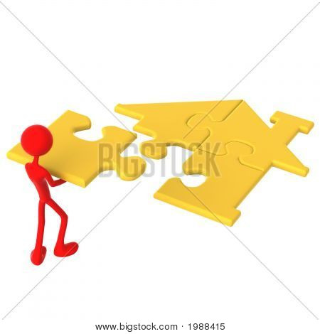 Golden Real Estate Home Puzzle