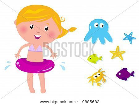 Cute Swimmer Girl And Ocean Animals Icons.