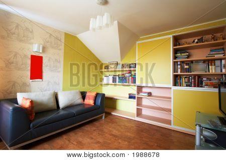 Sofa And A Bookcase