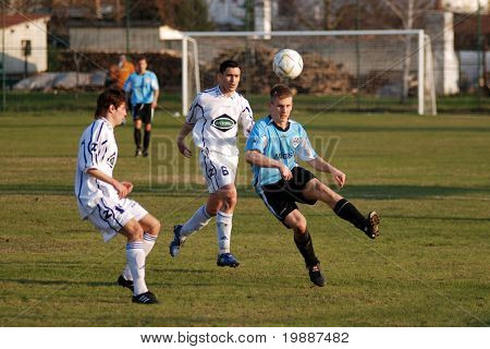BALATONLELLE, HUNGARY - MARCH 18: Uidentified players in action at a Hungarian National Championship II. soccer game Balatonlelle vs. Integral DAC March 18, 2007 in Balatonlelle, Hungary.