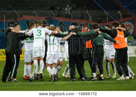 SZEKESFEHERVAR, HUNGARY - MARCH 17: Kaposvar players celebrate the win at a Hungarian National Championship soccer game Kaposvar vs. FC Fehervar March 17, 2007 in Szekesfehervar, Hungary.