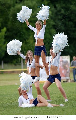 KAPOSVAR, HUNGARY - MAY 20: Cheerleaders perform at an American football game Goldenfox vs. Budapest Cowboys, May 20, 2007 in Kaposvar, Hungary.