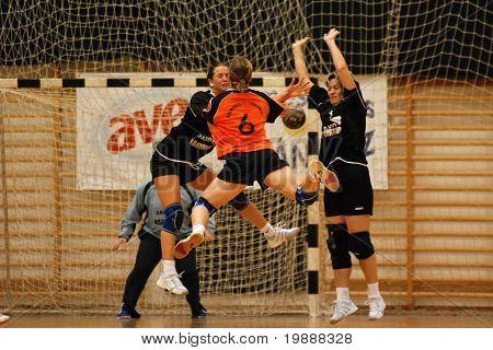 KAPOSVAR, HUNGARY - MAY 18: Unidentified players in action at Hungarian Handball National Championship I/B. match (Nagyatad vs. Szombathely) May 18, 2007 in Kaposvar, Hungary.