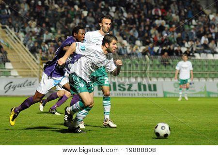 KAPOSVAR, HUNGARY - MAY 9: Pedro Sass (3) in action at a Hungarian National Championship soccer game Kaposvar vs Kecskemet May 9, 2009 in Kaposvar, Hungary.