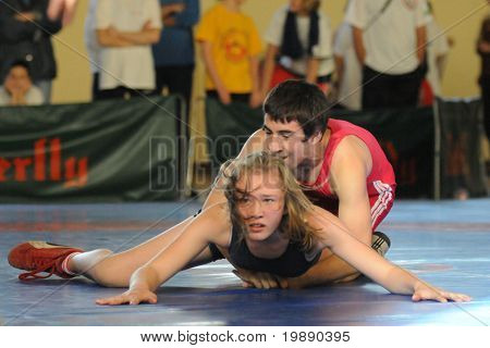 KAPOSVAR, HUNGARY - NOVEMBER 6: Unidentified competitors wrestle in the Intersport Cup Greco-Roman Wrestling Competition , November 6, 2010 in Kaposvar, Hungary.