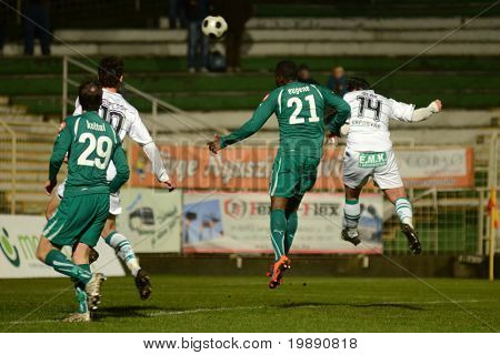 KAPOSVAR, HUNGARY - NOVEMBER 19: Lorant Olah (R) in action at a Hungarian National Championship soccer game Kaposvar vs Gyori ETO November 19, 2010 in Kaposvar, Hungary.