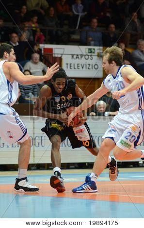 KAPOSVAR, HUNGARY - JANUARY 22: Bam Doyne (10) in action at a Hungarian National Championship basketball game Kaposvar vs Szombathely January 22, 2011 in Kaposvar.