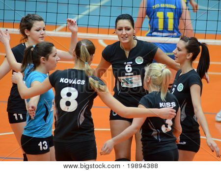 KAPOSVAR, HUNGARY - JANUARY 23: Miskolc players celebrate at the Hungarian NB I. League woman volleyball game Kaposvar vs Miskolc, January 23, 2011 in Kaposvar, Hungary.