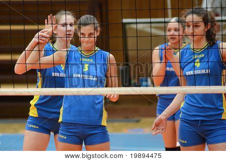KAPOSVAR, HUNGARY - JANUARY 23: Kaposvar players at the Hungarian NB I. League woman volleyball game Kaposvar vs Miskolc, January 23, 2011 in Kaposvar, Hungary.