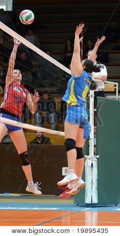 KAPOSVAR, HUNGARY - FEBRUARY 4: Barbara Balajcza (8) in action at the Hungarian NB I. League woman volleyball game Kaposvar vs Szolnok, February 4, 2011 in Kaposvar, Hungary.