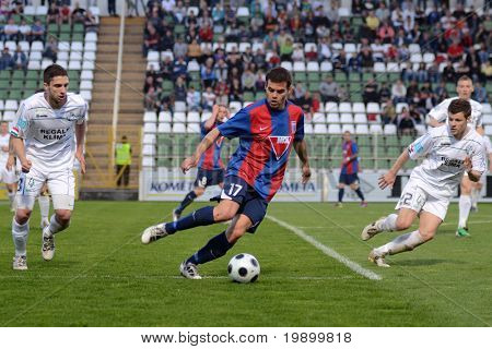 KAPOSVAR, HUNGARY - APRIL 20: Nikolic Nemanja (17) in action at a Hungarian National Cup soccer game Kaposvar vs Videoton April 20, 2011 in Kaposvar, Hungary.