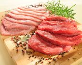 Raw pork chop and steaks for barbecue