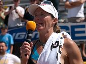 HERMOSA BEACH, CA. - AUGUST 8: Elaine Youngs giving a speach after winning the womens final of the A