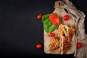 Club Sandwich Panini With Ham, Tomato, Cheese And Basil. Flat Lay. Top View poster